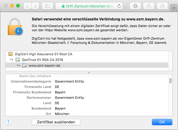 Detail des SSL-Zertifikats True BusinessID EV in der Adressleiste des Browsers