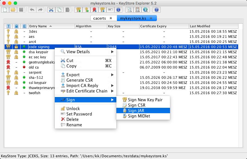Verwaltung von Zertifikaten in Java Keystore